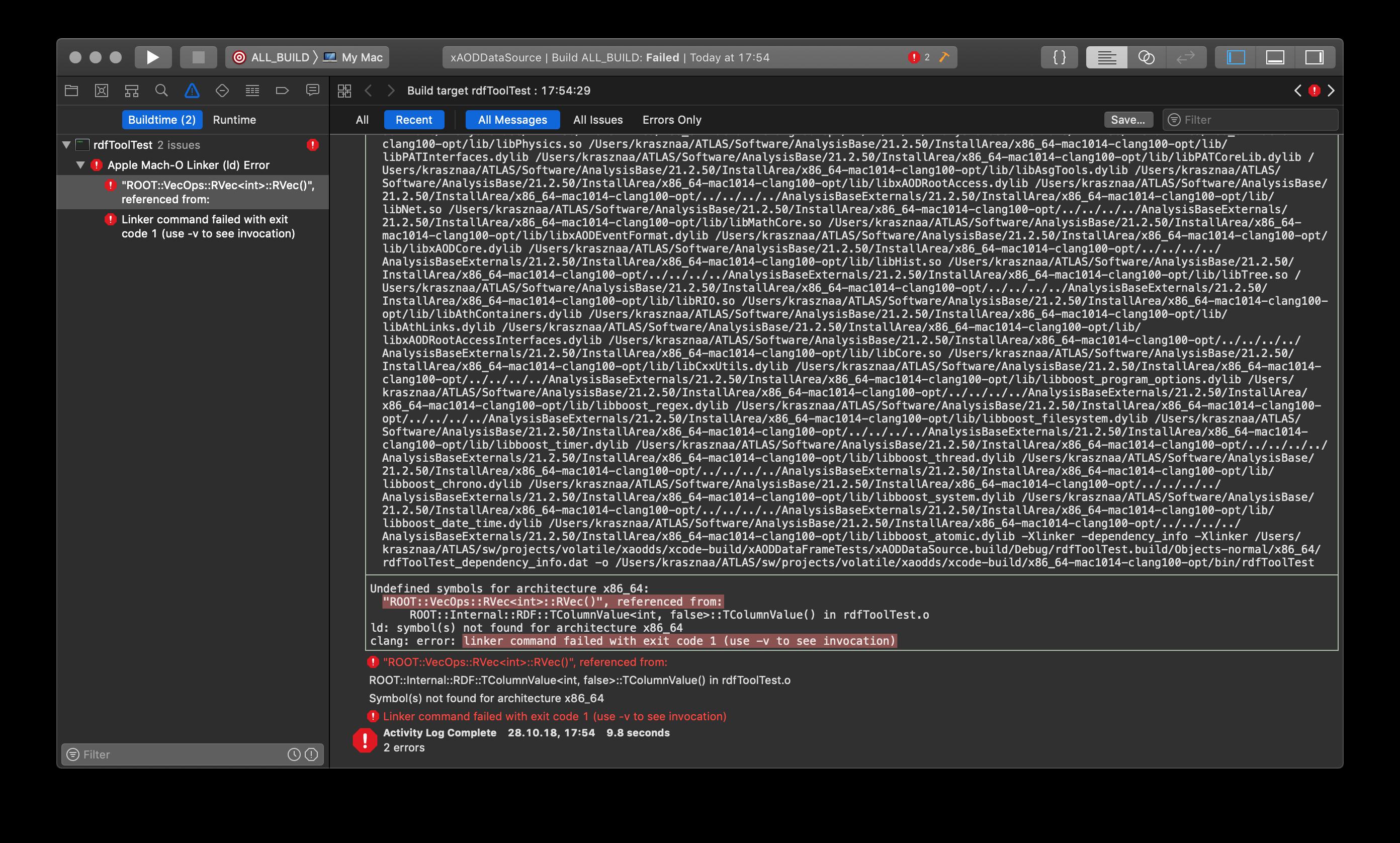 Strange linker error (only) in Xcode - ROOT - ROOT Forum