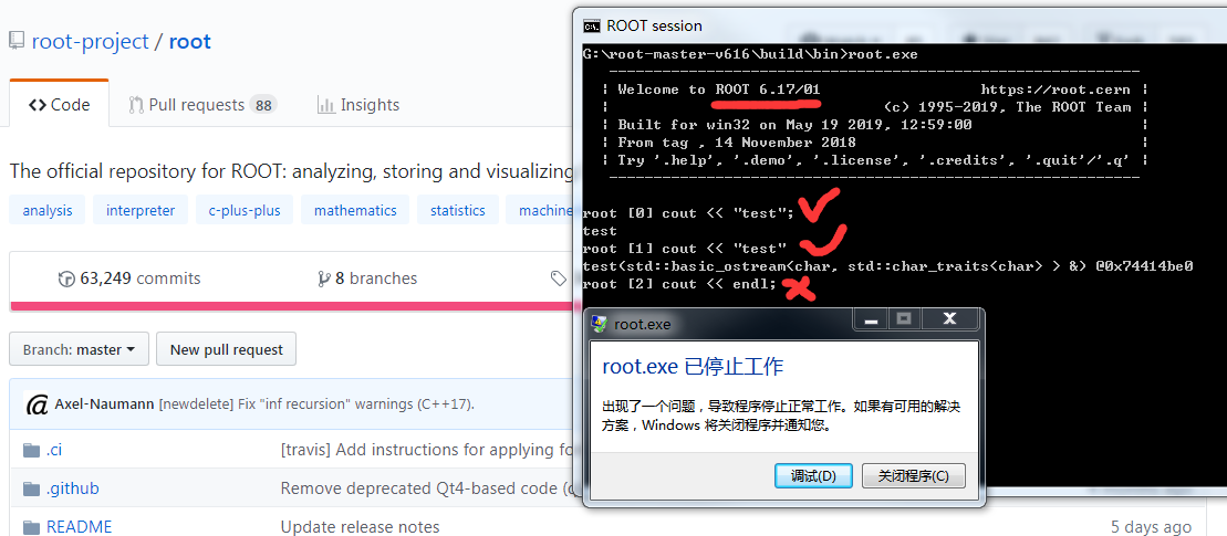 Cin cout crashed my self-compiled ROOT V6 16 - ROOT - ROOT Forum